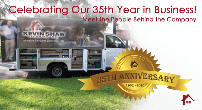 Celebrate 35 years by getting ot know the staff at Kevin Shaw Plumbing, Inc..